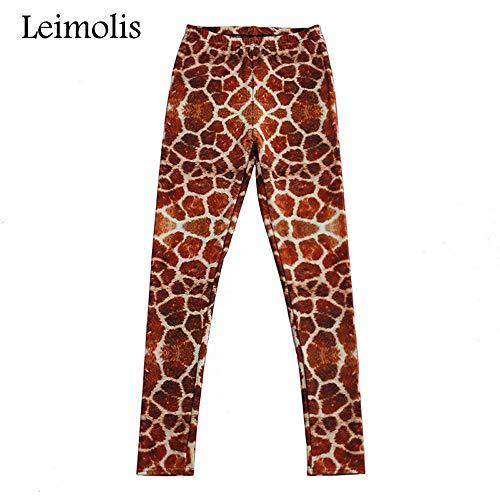 LEIMOLIS Yoga Hosen Leggings Printed 3D Fitness Push Up Workout Leggings Frauen Gothic Giraffe Plus Size Hohe Taille Punk Rock Hosen, Braun,...
