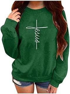 Mikilon Women's Casual Letter Print Faith Jesus Crewneck Graphic T-Shirt Long Sleeve Loose Sweatshirt Tops