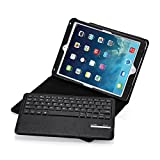iPad Air/iPad Air 2 Keyboard + Leather Cover, Poweradd Bluetooth iPad Keyboard Cover w/Removable Wireless Keyboard, Built-in Multi-Angle Stand for Apple iPad Air 1/2, iPad 5/6 (Black)