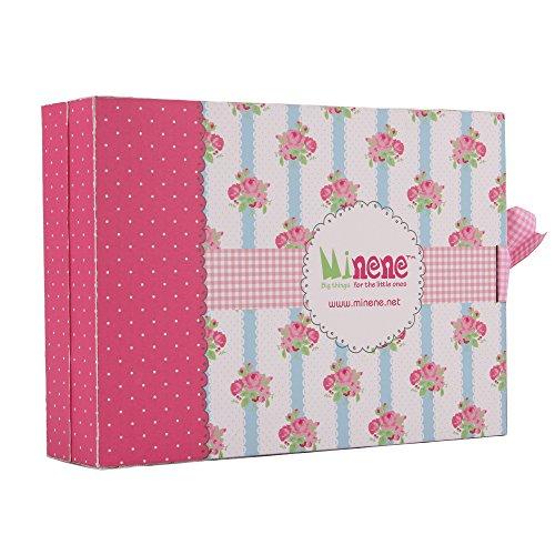 Minene Ensemble cadeau 3 pièces surprise pour bébé fille 0–3 m Body + pantalon + chapeau (rose)