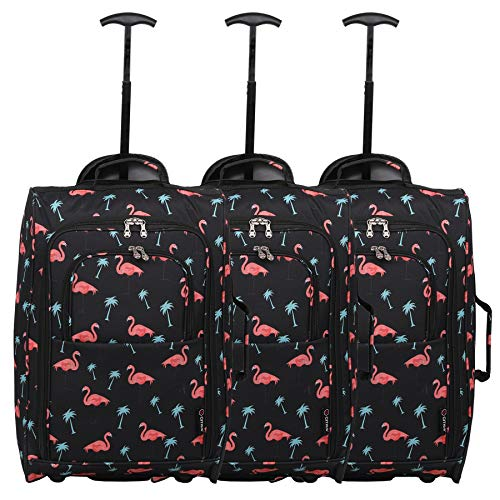 Set of 3 Super Lightweight 5 Cities 21'/55cm Cabin Approved Carry On 2 Wheel Suitcase Trolley Bags Hand Luggage with Sturdy Frame Black Flamingos