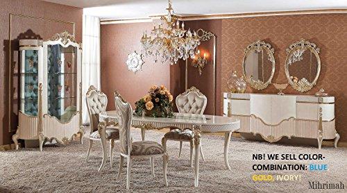 Klassisch luxuriöses Esszimmer set – MIHRIMAH (1 Esstisch, 6 Esszimmerstühle, 1 Vitrine, 1 Schrank, 2 Spiegel). Farbkombination: elfenbeinfarben, gold, blau. Classical luxury Diningroom set .