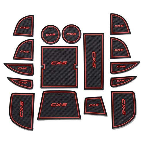 QQKLP Rubber Mat Zerbino Anti-Slip Cup Pad per Mazda CX5 CX5 CX 5 2013 2014 16Pcs Arredamento Accessori Porta Slot Pad,Rosso