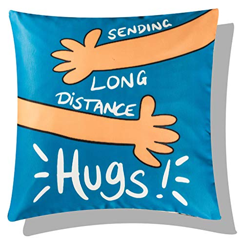 Vendola One Hug for You Long Distance Relationship Printed Cushion Cover - Gift for Boyfriend Girlfriend (with Filler, 16X16...