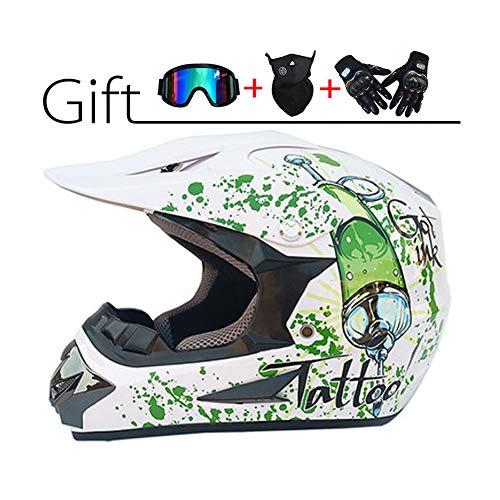 LEENP Motocross Helm, Erwachsener Crosshelm Set mit Brillen/Maske/Handschuhe, Herren Motorradhelm DH Enduro-Helm Damen Männer Cross Helm ATV MTB Quad Motorräder Sports Offroad Helm, Weiß/Grün,L