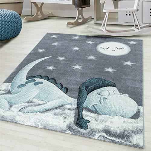 Ayyildiz Wunderschöne Kinderteppich rechteckig/rund, Höhe 7 mm, Drachen Motiv, Kurzflor, Größe:Ø 160 cm Rund, Farbe:Blau