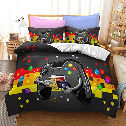 Gamepad Bedding Set Queen Size Duvet Cartoon Pac Man Cover Sets Black for Kids Teen Boys 1 Duvet Cover with 2 Pillowcases