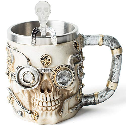 Skull Beer Coffee Mug Viking Drinking Horn Stainless Steel Cup Steampunk Accessories for Men, Halloween Xmas Decor for Home