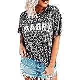 CAOGED Camiseta de verano de manga corta para mujer, cuello redondo, estampado de leopardo, con texto en alemán, informal, de algodón, talla grande, de color, suelta, para verano, blusa. gris XL