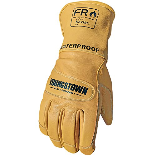 Youngstown Glove 11-3285-60-M Flame Resistant Waterproof Leather Utility Lined with Kevlar Gloves, Medium