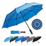 (Royal Blue 46-inch) HOSA Auto Open Close Compact Portable Lightweight Automatic Repel Folding Travel Umbrella, Double Vented Windproof UV Protection, For Raining, Sunny Days and Night Time Use