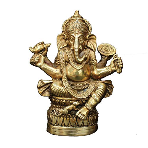 JPVGIA Budismo Tibetano Latón Ganesha Ganapati Ganesh Señor Dios Elefante Estatua de Buda