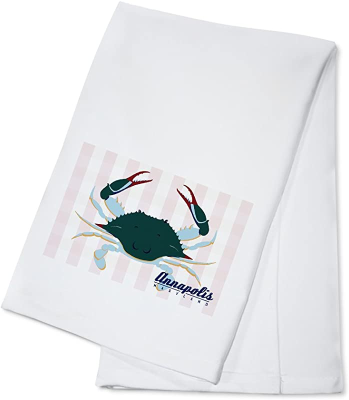 Annapolis Maryland Blue Crab Vector Style 100 Cotton Kitchen Towel