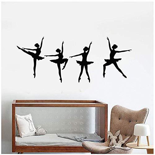MINGKK - Adhesivo decorativo para pared, diseño de bailarinas, bailarinas, bailarinas, bailarines, bailarinas, decoración para recámara, hogar, sala de estar, 42 x 103 cm 🔥