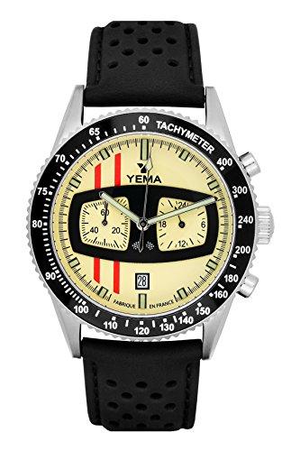 Armbanduhr Herren–RALLYGRAF–genarbtes schwarz–42mm–10bar–ymhf1481