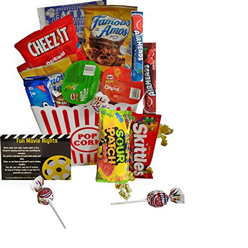 Movie Night Gift Basket Ultimate Care Package with lots of Premium Candy Cookies Popcorn and Snacks in a Cool Retro Nostalgic Plastic Bucket & Kinayto 'Fun Movie Night' Poem