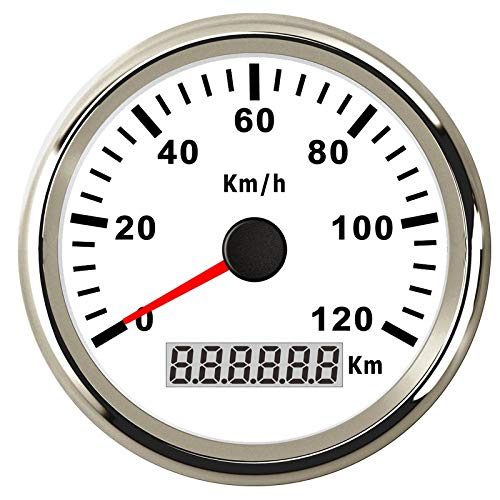 CAIZHIXIANG 85mm GPS de la Motocicleta Velocímetro cuentakilómetros for Barco del Carro del Coche Digital del velocímetro 12V 24V Rojo Blacklight (Color : WS 120KMH, Size : Gratis)