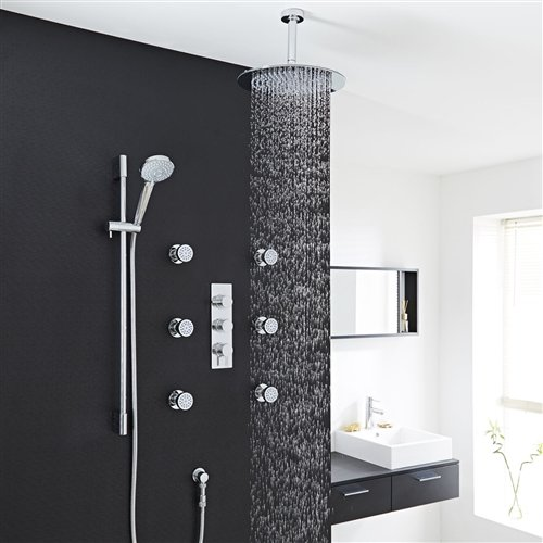 Best Price Round 12 inch Ceiling Shower Head Set with 6 Shower Body Jets
