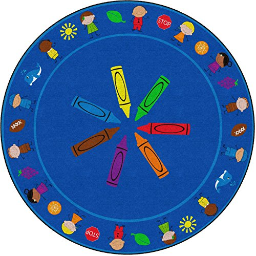 Flagship Carpets Cushy Colors Kids, Animals, Objects and Crayon Royal Area Rug for Classroom Carpet, Childrens Playroom or Bedroom Mat, 6' Round