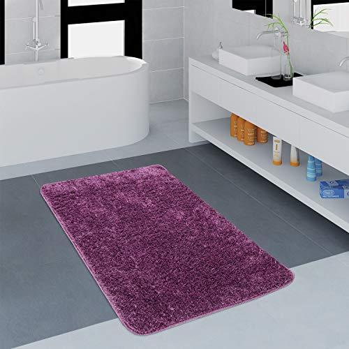 Paco Home Moderner Badezimmer Teppich Einfarbig Microfaser Kuschelig Gemütlich In Lila, Grösse:80x150 cm