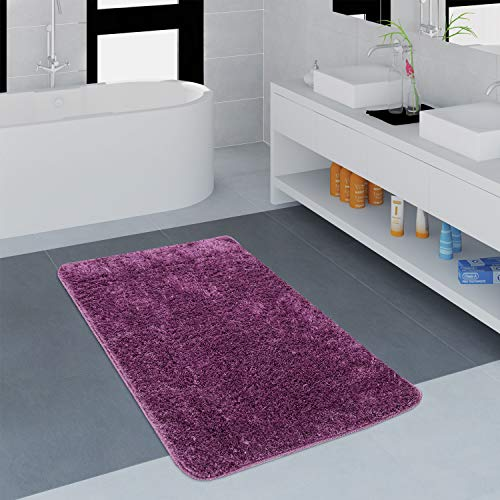 Paco Home Badezimmer Teppich Einfarbig Kuschelig Gemütlich In Versch. Größen u. Farben, Grösse:60x100 cm, Farbe:Lila