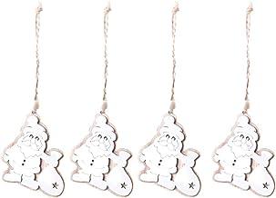 4 Pcs Christmas Tree Decoration Xmas Baubles Hanging Decor Wooden Hollow Decorative Pendant Ornament