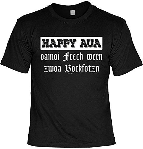 Wiesn T-Shirt - Happy Aua - Oamoi frech wern - Zwoa Bockfotzn - lustiges Bayerisches Sprüche Shirt ideal für's Oktoberfest statt Lederhose und Dirndl