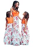 EFOFEI Vestido largo para madre e hija, padres, hijas, madres, hijas, día de la madre, fiesta de cumpleaños, falda larga, diseño de flores, vestido diario, A-Orangeblüte, 9 años