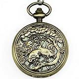 HGJINFANF Elegante y simple, exquisita mano de obra, buen gi reloj de bolsillo elegante exquisito tallado doble grúa unisex esqueleto mecánico cuerda colgante collar