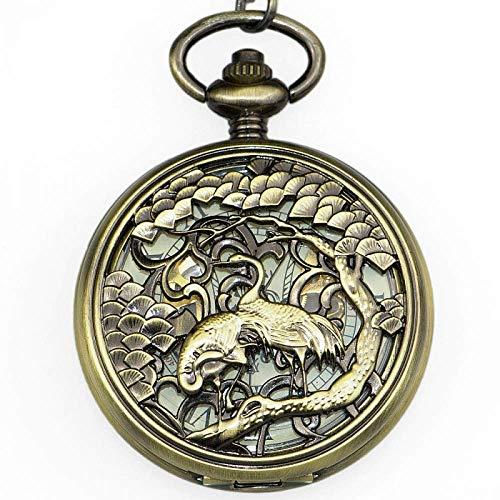 DIHAO Reloj de Bolsillo para Hombre Elegante Exquisito Tallado Doble grúa Unisex Esqueleto mecánico Cuerda Colgante Collar