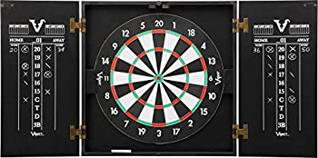 Viper Hideaway Cabinet & Steel-Tip Dartboard Ready-to-Play Bundle Reversible Standard and Baseball Game Options with Two Sets of Steel-Tip Darts and Chalk Scoreboards Black Matte Finish