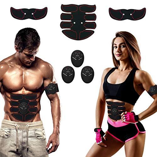 Chomang Elettrostimolatore Muscolare, Elettrostimolatore per Addominali EMS Stimolatore Addominali Cintura Gambe Home Gym con Trainer Elettrico per Braccia Elettrostimolatore Glutei