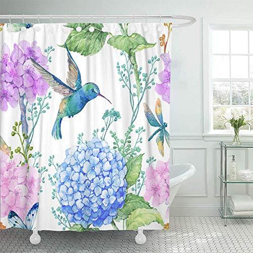 Waterdichte gordijnen gele vlinder aquarel bloemen vlinders en kleine vogel Kolibri blauw decoratief patroon 183 x 183 cm hotels douchegordijn waterdichte badkamervogel