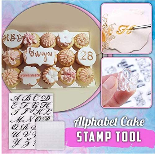 Alphabet Cake Stamp Tool - Alphabet & Numbers Fondant Cake Mold, DIY Cookie Stamp Cookie Cutter Fondant Mould, Handmade English Letters Fondant Biscuit Cake Cookie Mold Baking Tools (Transparent)