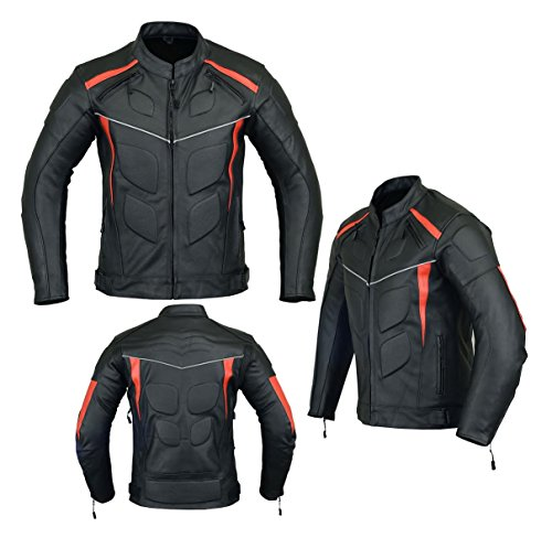 MOTORCYCLE ARMORED LEATHER JACKET BLACK WITH RED STRIPS ARMOR LJ-4009 S