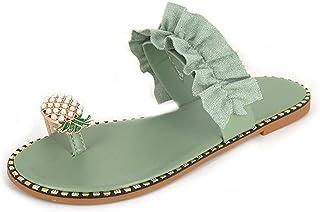 UULIKE Femmes Eté Sandales Plates,Bout Ouvert Style Bohème Perle l'ananas Plat Chaussures de Plage Vacances Casual Sandale...