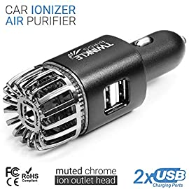 TWINKLE BIRDS Car Air Purifier Ionizer - 12V Plug-in Ionic Anti-Microbial Car Deodorizer with Dual USB Charger - Smoke Smell, Pet and Food Odors, Allergens, Viruses Eliminator for Car 5 ★REMOVES ALLERGENS-pollen dust PM2.5 pet dander mold spores-Cool formaldehyde VOC remover for cars ★ELIMINATES SMELLS of smoke, pet, foods, teen sweat stink, vomit, sports gear ★No Filter inside ★KILLS VIRUSES BACTERIA keeping vehicle air safe for family and kids-Generates Safe level of Ozone