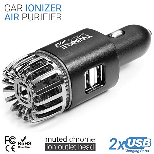 TWINKLE BIRDS Car Air Purifier Ionizer - 12V Plug-in Ionic Anti-Microbial Car Deodorizer with Dual USB Charger - Smoke Smell, Pet and Food Odors, Allergens, Viruses Eliminator for Car (Matte Black)
