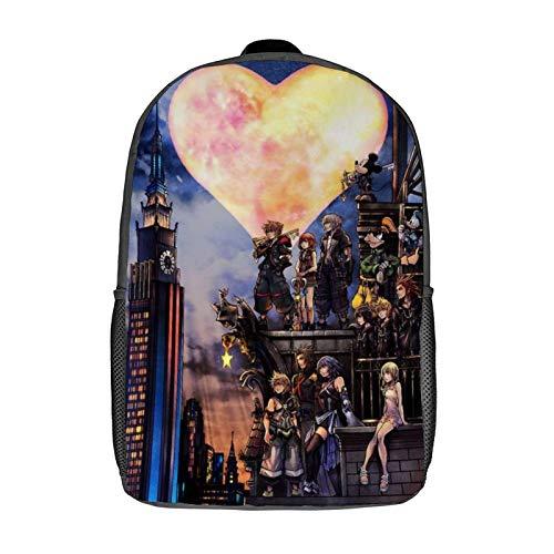 QUEMIN Kingdom-Hearts Leisure backpack-Mochila clásica para computadora portátil de 17 pulgadas, mochila de camping, mochila de viaje al aire libre, mochila escolar universitaria
