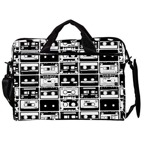 Unisex Computer Tablet Satchel Bag,Lightweight Laptop Bag,Canvas Travel Bag,13.4-14.5Inch with Buckles Old Retro Autio Tapes