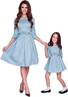 YMING Mother and Daughter Dresses Cocktail Parent-Child Outfits with Bow