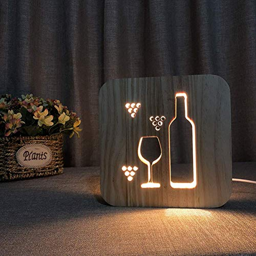 LED Night Light USB Wooden Hollow Wine Glass/Wine Bottle Photo Frame 3D Lamp Creative Eye Caring Small Table Lighting Kids Adults Beautiful Gifts Home Bedroom Decorative Toys,Warm White