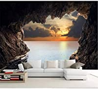 RTYUIHN 壁紙洞窟海景日の出壁画リビングルーム寝室3d壁紙モダンな壁アート装飾