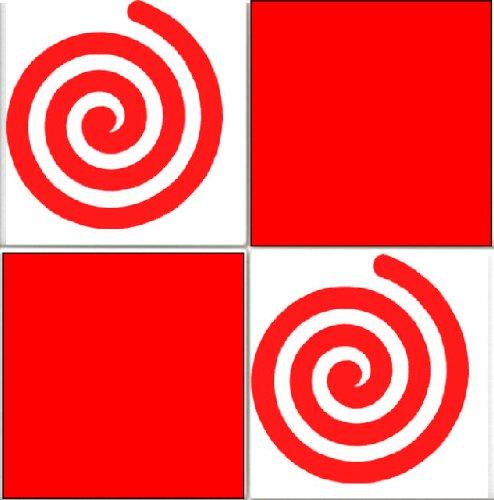 20x Swirls Piastrelle Adesivi trasferibili Cucina o Bagno, Rosso