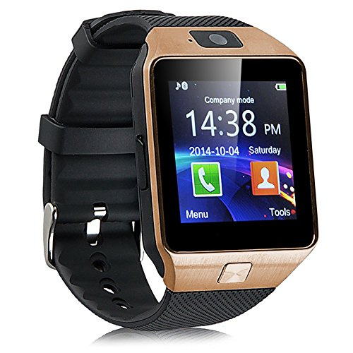 Padgene Bluetooth Smartwatch,Touchscreen Wrist Smart Phone Watch Sports Fitness Tracker with SIM SD Card Slot Camera Pedometer Compatible with Android Smartphone for Kids Men Women (BKGD)