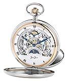 JEAN JACOT C342218 Reloj de bolsillo – Accesorio atemporal para hombres cultados – Doble bisagra – Incluye cadena y estuche – (Diámetro de la caja 53 mm)