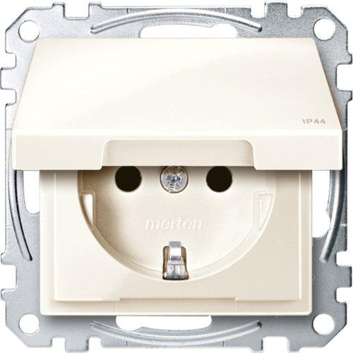 Preisvergleich Produktbild Merten MEG2314-0344 SCHUKO-Steckdose mit Klappd,  IP44,  BRS,  Steckklemmen,  weiß glänzend,  System M