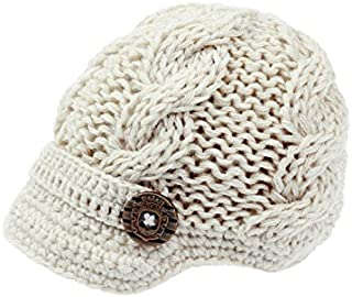 Baby Boys Crochet Knit Newsboy cap Photography Brim Buttons Hat