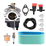 Highmoor 640065A 640065 Carburetor Tune Up Kit for Tecumseh OHV125 OHV130 OVH135 OHV110 OHV115 OHV120 OV358EA Lawn Mower Engine Parts + 36356 36357 Air Filter