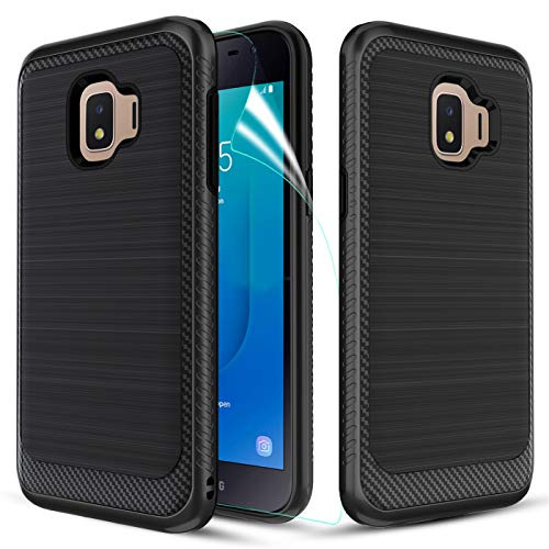 MMDcase Samsung Galaxy J2 Core Case, J2 2019/ J2 Dash/ J2 Pure/ J2 Shine/SM-J260 Phone Case with Screen Protector,Carbon Fiber Soft TPU Brushed Texture Full-Body Protective Cover for Men/Women,Gray